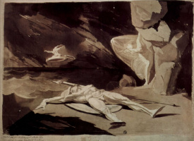 Иоганн Генрих Фюссли. Фетида оплакивает мёртвого Ахилла