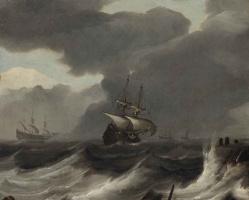 Ян Порселлис. Корабли в шторм у побережья