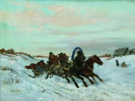 Николай Егорович Сверчков. Ямская тройка на зимней дороге. 1860-1870-е