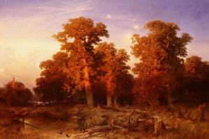 Августа Шеффер фон Винвалд. Закат в венгерском лесу