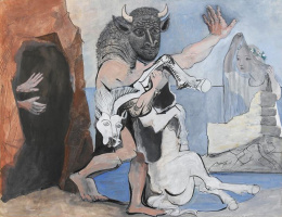 Pablo Picasso. Minotaur with dead horse in the cave before the girl in a veil