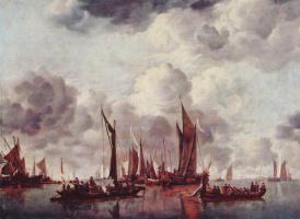 Ян ван де Капелле. Парусники в гавани