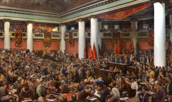 Исаак Израилевич Бродский. Solemn opening of the Second Congress of the Comintern in the Palace of Uritsky in Leningrad