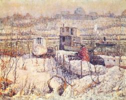 Эрнест Лоусон. Река зимой