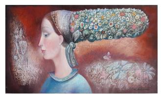 Девушка с цветочной прической