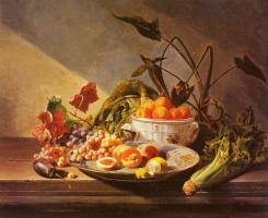 Давид Эмиль Жозеф де Нотер. Натюрморт с фруктами и овощами на столе