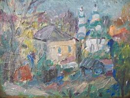 Владимир Ананьевич Петров. Пейзаж с церковью
