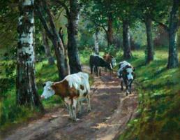 Константин Аполлонович Савицкий. Стадо коров в лесу