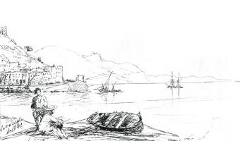Ivan Aivazovsky. Bay of Amalfi, in 1842. Sketch