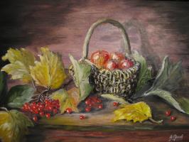 Alexander Valerievich Orlov. Still-life with viburnum and apples