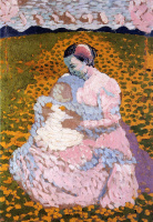Mother and child on a Sunny meadow