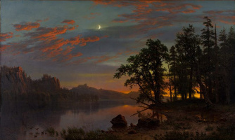A river landscape. Night over the valley