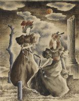 Доротея Таннинг. Две женщины и синяя лента