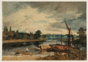 The River Thames near Isleworth: Punt and Barges in the Foreground