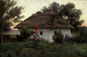 Efim Efimovich Volkov. Ukrainian landscape with a hut