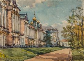 Анна Петровна Остроумова-Лебедева. Екатерининский дворец. Пушкино. 1947