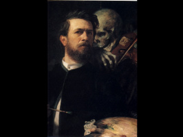 Arnold Böcklin. Self portrait with Death