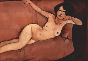 Amedeo Modigliani. Almeida. Nude on the sofa