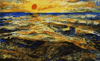 Владимир Васильевич Лубенко. Шумящее море на закате солнца