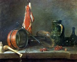 Жан Батист Симеон Шарден. «Скудная диета». Натюрморт с мясом и кухонной посудой