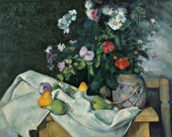 Поль Сезанн. Натюрморт с цветами и фруктами