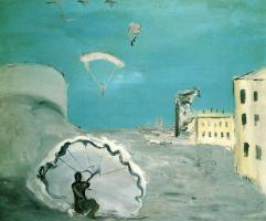 Александр Давыдович Древин. Спуск на парашюте