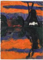 Эмиль Нольде. Вечерний пейзаж с мельницей