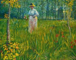Vincent van Gogh. A woman walks through the garden
