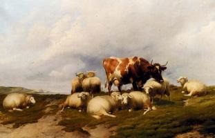 Томас Сидней Купер. Коровы и овцы на лугу