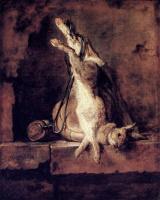 Жан Батист Симеон Шарден. Дикий кролик с охотничьим мешком и пороховница