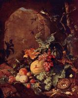 Ян Давидс де Хем. Большой натюрморт с птичьим гнездом