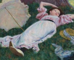 Федерико Дзандоменеги. Женщина, лежащая на траве