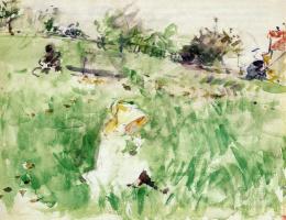 Берта Моризо. Маленькая девочка, сидящая на траве
