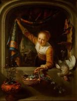 Геррит (Герард) Доу. Девушка в окне с корзиной фруктов