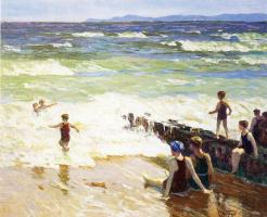 Эдвард Генри Поттаст. Купальщицы на берегу
