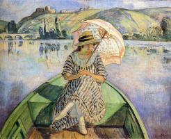 Анри Лебаск. Женщина в лодке с зонтиком