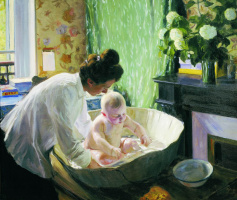 Boris Kustodiev. Morning. Depicted Evstafevna Yulia Kustodieva, the artist's wife with son, my firstborn Cyril