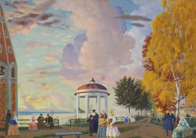 """A community garden on the high Bank of the Volga. A sketch of the scenery to the drama, A. N. Ostrovsky """"Thunderstorm"""", act I"""