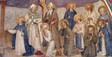 Fra Beato Angelico. Grieving saints at the foot of the Cross. Fragment of the fresco in the hall of the Chapter of the monastery of San Marco, Florence