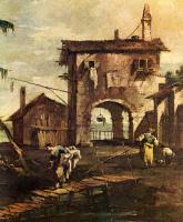 Франческо Гварди. Каприччио: обветшавшая церковь, крестьянский дом и фигуры на реке Лагуны, фрагмент