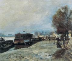 Pierre-Auguste Renoir. Washing boats on the Seine near Paris