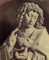 Хуберт ван Эйк. Гентский алтарь, алтарь мистического агнца, правая створка внешняя сторона, нижняя внутренняя сцена: св. Иоанн Евангелист, детал