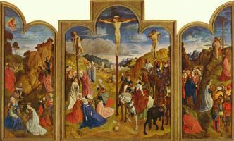 Юстус ван Гент. Распятие, триптих
