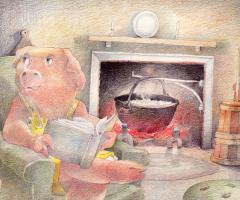 David Jorgensen. Pig by the fireplace