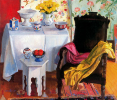 Уоррен Брандт. Натюрморт с чашками на столе