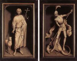 Ганс Мемлинг. Триптих Виллема Мореля. Наружная сторона створок. Иоанн Креститель и Святой Георгий