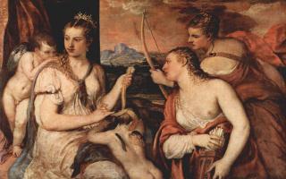 Тициан Вечеллио. Венера завязывает Купидону глаза