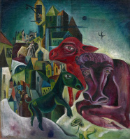 Max Ernst. The city with animals