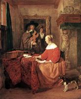 Габриель Метсю. Женщина, сидящая за столом