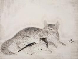 Цугухару Фудзита (Леонар Фужита). Кошка с котенком